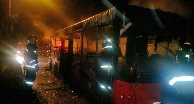 ВКазани сгорел маршрутный автобус