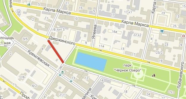 Доиюня 2016-го вКазани перекроют движение вдоль улицы Дзержинского