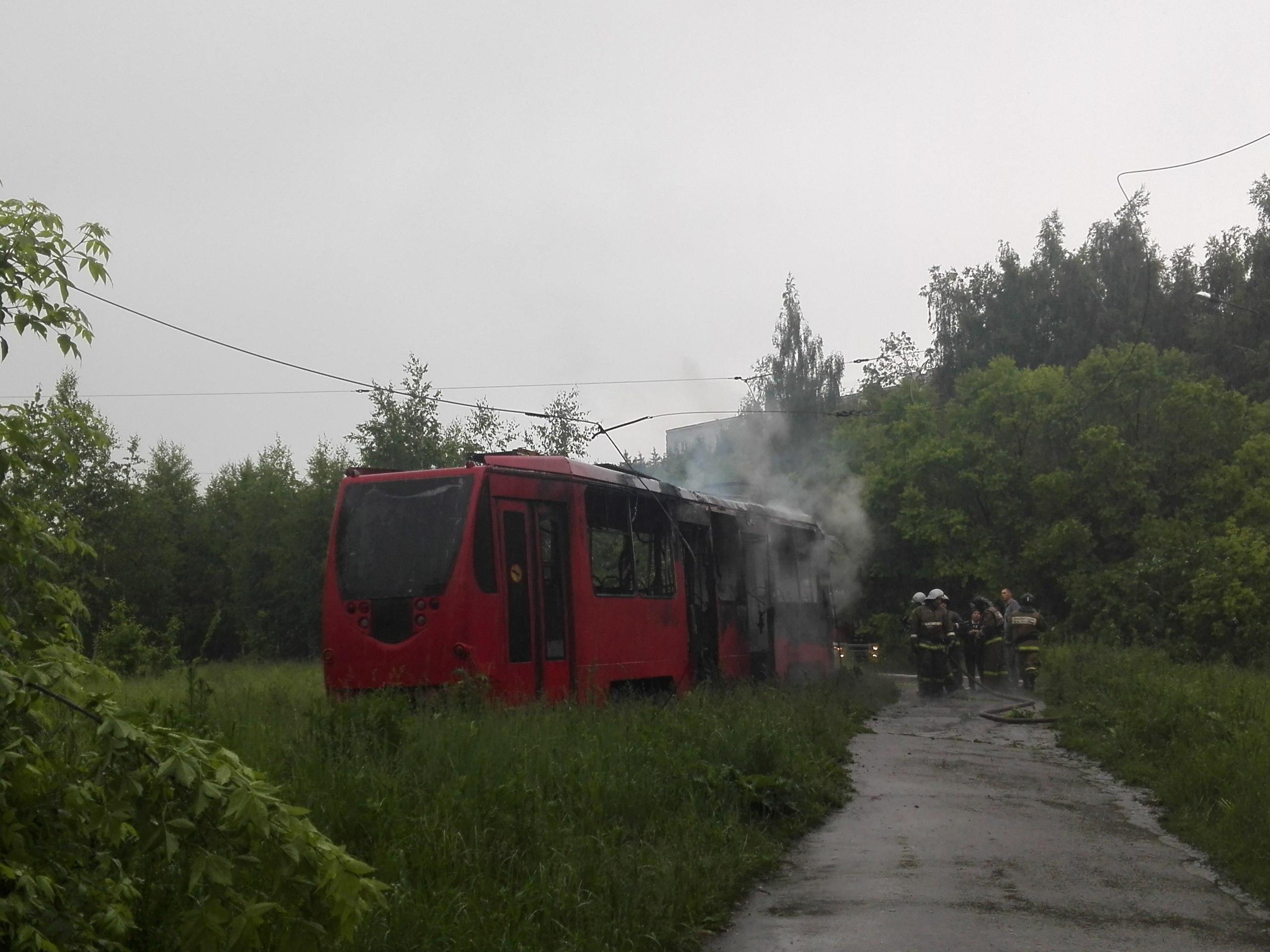ВКазани вовремя грозы зажегся трамвай